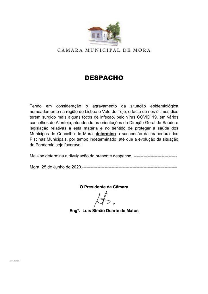 Despacho Piscinas Municipais 25 Junho 2020